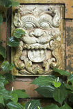 Lion tile. Vintage wall tile with Asian lion head embossing among green leafs Stock Images