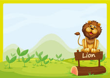 A lion at the top of a wooden signboard Royalty Free Stock Photography