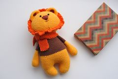 Amigurumi toy. Lion. Lion toy knitted in the technique of knitting amigurumi Royalty Free Stock Images
