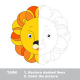 Lion toy to be colored. Vector trace game. Royalty Free Stock Photo