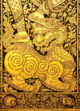 Lion in traditional Thai style painting Stock Image