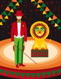 Lion and trainer in the circus art. Fun Lion and trainer in the circus art Stock Photo