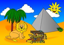 Lion treasure pyramid Royalty Free Stock Images