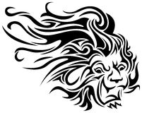 Lion tribal tattoo. Line art lion tribal tattoo design Royalty Free Stock Image