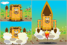 Rocket lion. Lion turns into a rocket in front of the Papuans and flies vector illustration