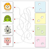 Lion, turtle, zebra and pig with their traces of foot Royalty Free Stock Image