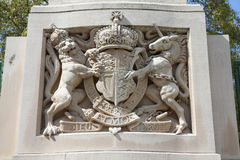 The Lion and the Unicorn. Famous symbol of the United Kingdom. Sculpture in London Stock Images