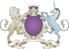 Lion and Unicorn Coat of Arms Royalty Free Stock Images