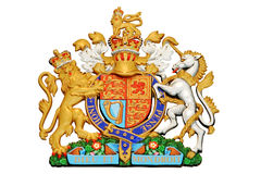 Lion and unicorn. On English heraldic coat of arms isolated on white background Royalty Free Stock Photo