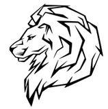 Lion vector. Lion head illustration - black and white outline Stock Images
