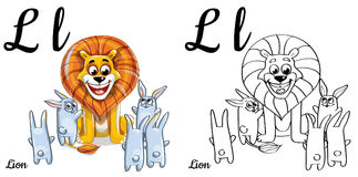 Lion. Vector alphabet letter L, coloring page. Vector alphabet letter L for children education with funny cartoon lion and bunnies. . Learn to read. Coloring Stock Photos