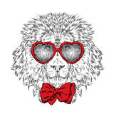 Lion vector . Hipster. Poster . Print . Greeting card with animals. St. Valentine's Day. Stock Photos