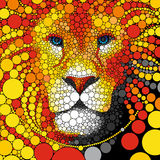 Lion vector illustration. Abstract wild cat animal portrait. Predator colorful background. Royalty Free Stock Images