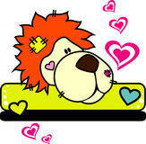 Lion vector love illustration. Composition Royalty Free Stock Photos