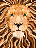 Lion vector from shapes. Low poly face. Royalty Free Stock Images