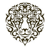 Lion vector tattoo illustration. Lion tattoo illustration isolated on white background. EPS 10 vector Royalty Free Stock Photo