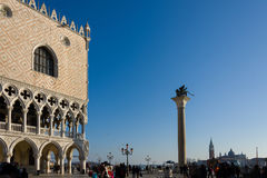 The Lion of Venice and  the Doge`s Palace Stock Images