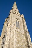 Lion Walk United Reformed Church in Colchester. Looking up at the impressive tower of the Lion Walk United Reformed Church in Colchester, Essex royalty free stock image