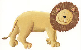 Lion walking. Acrylic illustration of lion walking Royalty Free Stock Images
