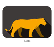 Lion walking side flat 3D icon design Stock Photography