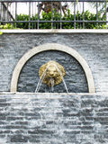 Lion wall fountain. And Stone wall texture Stock Image