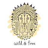 Lion in war bonnet, animal illustration, native Royalty Free Stock Images