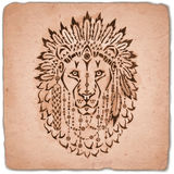 Lion in war bonnet, hand drawn animal illustration Stock Photo