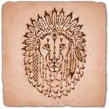Lion in war bonnet, hand drawn animal illustration Stock Photo