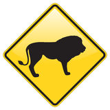 Lion Warning Sign Royalty Free Stock Images