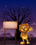 A lion waving beside an empty board Stock Images