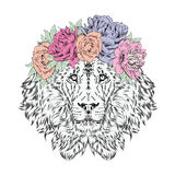 Lion wearing a crown of flowers. Vector illustration. Royalty Free Stock Photos