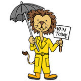 Lion wearing trench coat holding umbrella and sign Royalty Free Stock Photo