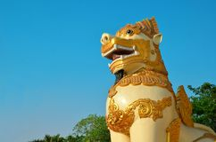 Lion on the west gate of the Shwedagon Pagoda Royalty Free Stock Photography