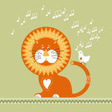Lion and White Bird. Lion listens to the singing of the White Bird Stock Photo