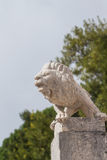 Lion white statue. Statue of a lion in guard position Royalty Free Stock Photo