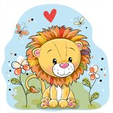 Lion With Flowers And Butterflies On A Meadow Royalty Free Stock Images