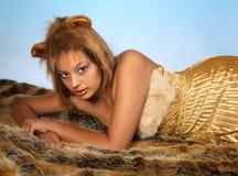Lion woman stock photo