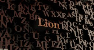 Lion - Wooden 3D rendered letters/message. Can be used for an online banner ad or a print postcard Stock Image