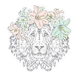 Lion in a wreath of flowers. Royalty Free Stock Photo