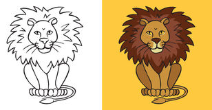 Lion on yellow background Stock Photography