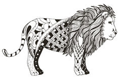 Lion zentangle stylized, vector, illustration, freehand pencil. Royalty Free Stock Photography