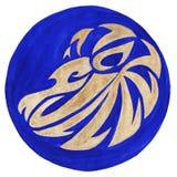 Lion Zodiac Symbol. Watercolor Illustration.The zodiac icon. Astrology.