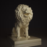 Lion1. Sculpture of lion, from beige gloss material Royalty Free Stock Images