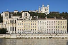 Lione con la basilica, la cattedrale ed il fiume Saona Fotografia Stock Libera da Diritti