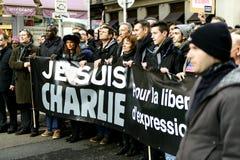 LIONE, FRANCIA - 11 GENNAIO 2015: Anti protesta del terrorismo Immagini Stock Libere da Diritti