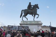 LIONE, FRANCIA - 11 GENNAIO 2015: Anti protesta 13 del terrorismo Immagini Stock Libere da Diritti