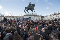 LIONE, FRANCIA - 11 GENNAIO 2015: Anti protesta 14 del terrorismo Fotografia Stock Libera da Diritti