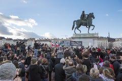 LIONE, FRANCIA - 11 GENNAIO 2015: Anti protesta 10 del terrorismo Immagine Stock
