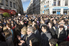 LIONE, FRANCIA - 11 GENNAIO 2015: Anti protesta 5 del terrorismo Fotografia Stock