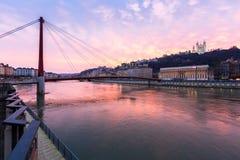 Lione il fiume Saona Fourviere Notre-Dame Fotografia Stock Libera da Diritti